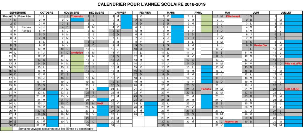 dates vacances noel 2018 belgique Calendrier | Lycée français Jean Monnet dates vacances noel 2018 belgique
